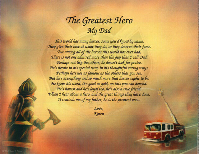 Father Dad Personalized Fireman Firefighter Poem Gift Father's Day or Birthday