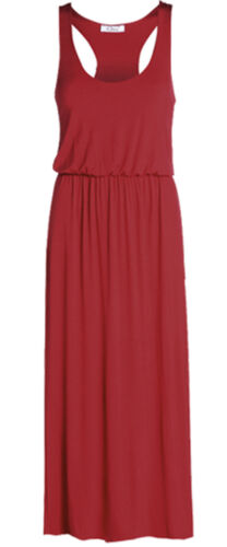 LADIES NEW MAXI TOGA RACER BACK DRESS WOMEN/'S LOOK LONG PUFF BALL PLUS SIZE 8-24