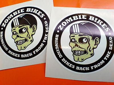 ZOMBIE BIKES Motorcycle Fairing Helmet Stickers Decals 2 off 75mm