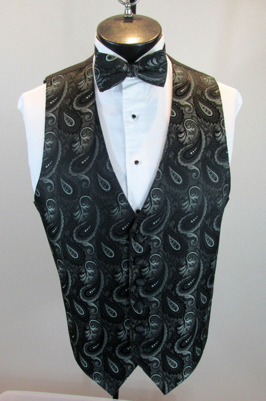 Mens Formal Vest Black & Silver Paisley Design Matching Bow Tie Included L B6