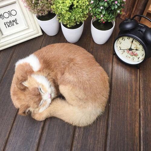 Schlafende Katze lebensechte Plüschkätzchen-Pelz-pelzige Tierfigürchen-Dekor
