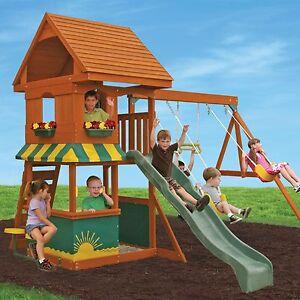 Wooden Swing Set Kids Outdoor Activity Center Fun Playhouse Backyard
