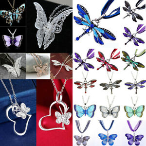 Women-Fashion-Enamel-Butterfly-Dragonfly-Crystal-Pendant-Chain-Necklace-Jewelry