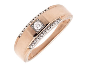 10K-Rose-Gold-Solitaire-Accent-Diamond-6MM-Wedding-Ring-Band-0-25ct