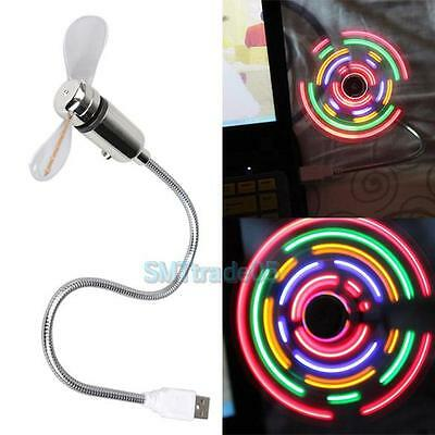 Flexible LED Colorful Light Neck Desk Mini USB Desk Fan Switchable For PC Laptop