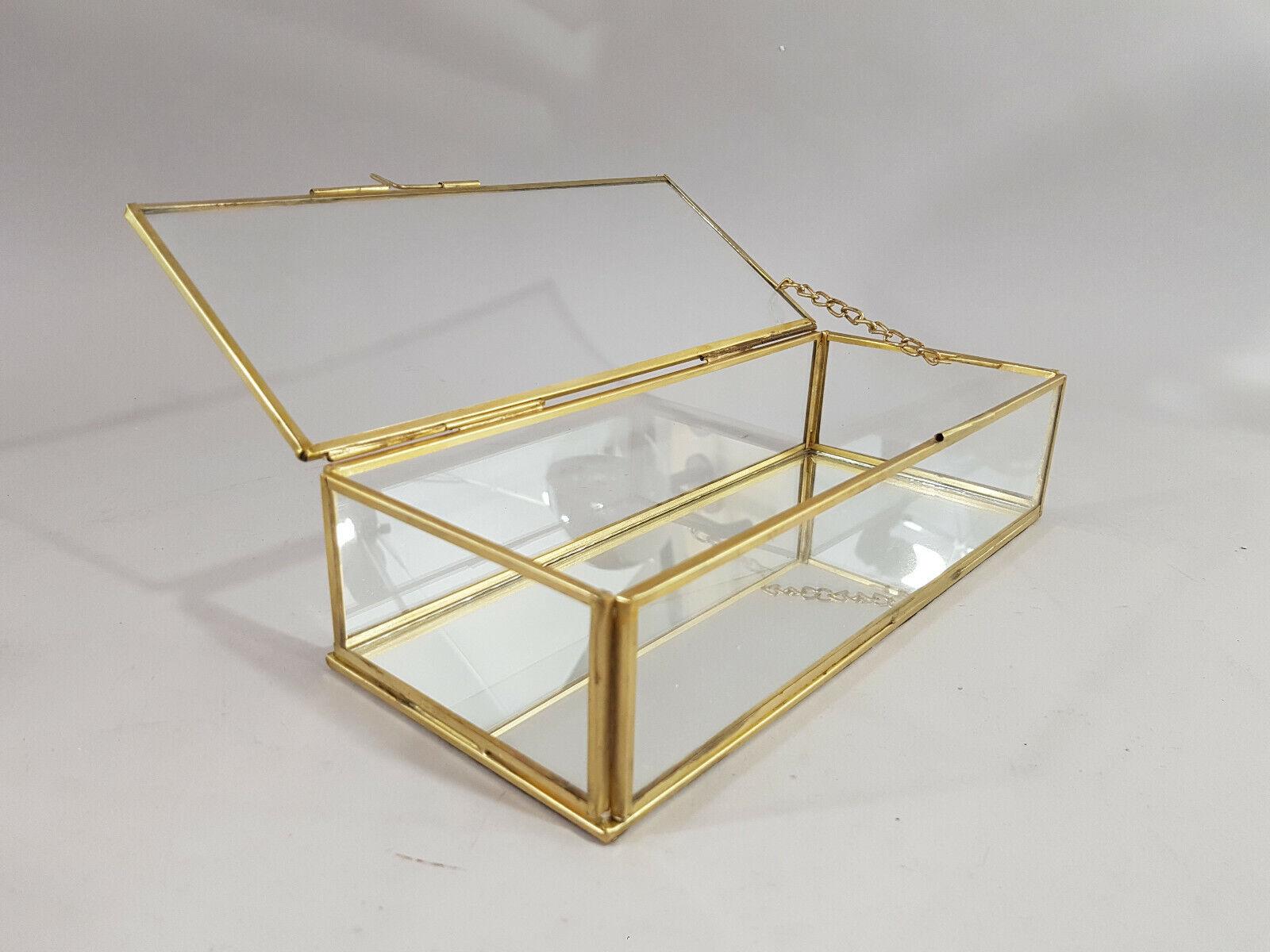 Schmuckkasten Vitrine Glas Metall Gold Messing Glasdose Glaskasten Box H