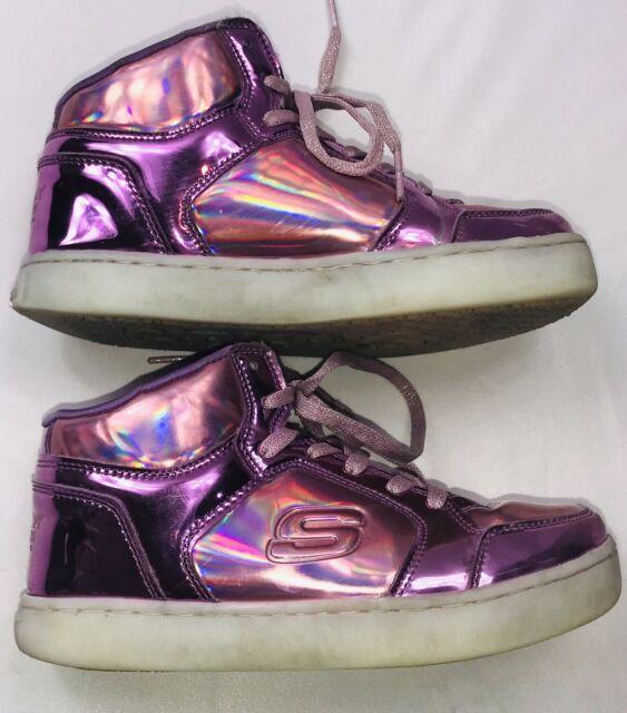 Skechers Girls' S Lights Energy Lights Shiny Bright High Top Gun MetalPurple