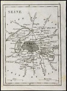 Juste 1830ca - Seine - Carte Ancienne Du Département. France. Gravure Tardieu
