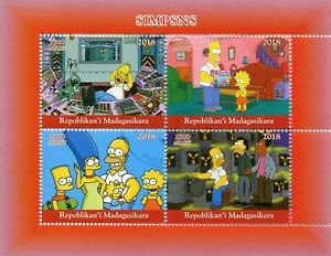 MADAGASCAR-2018-CTO-Simpsons-Homer-Bart-Simpson-4v-M-S-II-FRANCOBOLLI-cartoni-animati
