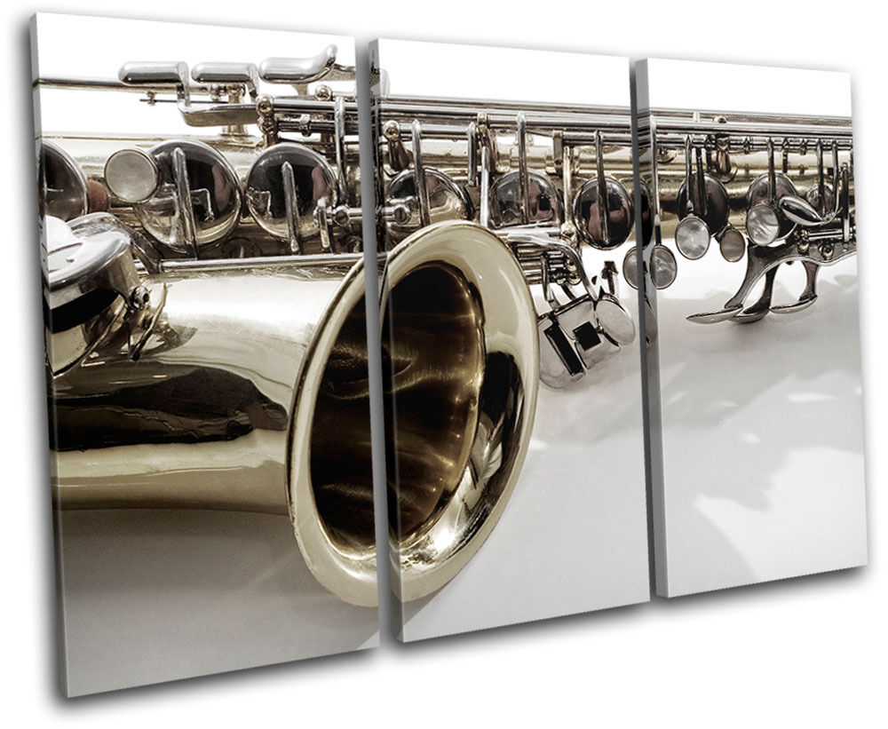 Saxophone Musical TREBLE Leinwand Wand Kunst Bild drucken