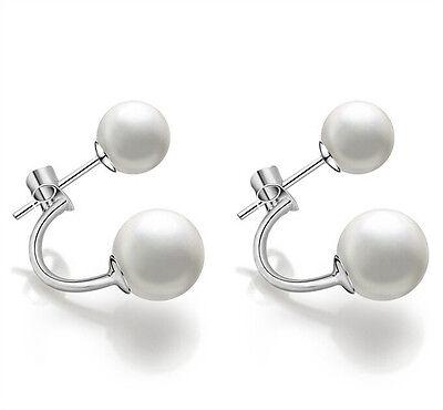 Hot!Fashion Lady 925 sterling Silver White Freshwater Pearl Ear stud Earrings aa