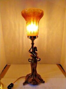 VINTAGE ART NOUVEAU ARTS & CRAFT Maiden Lampe 1900-1940 + craquelée Art Abat-jour en verre