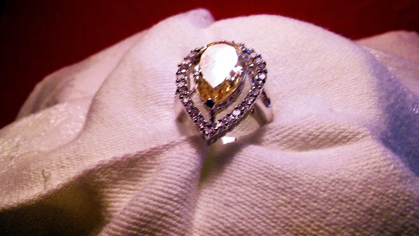 Melania Trump Jewelry Pear Cut Sim. Yellow Diamond Ring Size 6        L  52