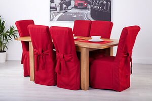 Marvelous Details About Set Of 6 Red Linen Fabric Dining Chair Covers For Scroll Top High Back Leather Caraccident5 Cool Chair Designs And Ideas Caraccident5Info
