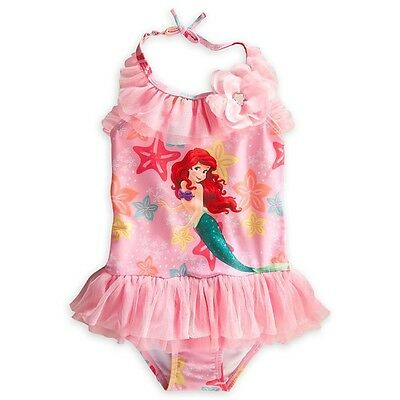 Disney Store Ariel The Little Mermaid 1Pc Ruffled Swimsuit XS 4 4T