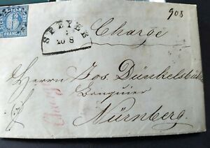 Bayern-dekorativer-6-Kreuzer-Charge-Brief-Mi-Nr-10-oMR-034-493-034-Speyer-1863