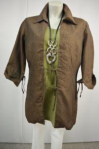 DRESS-IN-Blusejacke-Tunika-40-Leinen-Braun-3-4-Arm-zum-Binden-TOP