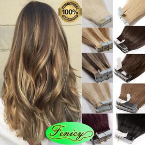 Extensions-de-Cheveux-Bande-adhesive-Ruban-naturels-en-cheveux-humains-Remy-reel