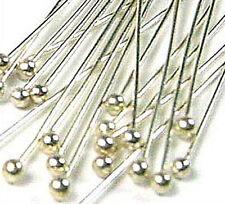 "100pcs  fine 28 gauge solid 925 Sterling Silver Ball head pin Headpin 1.5"" F11"