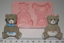 Stampo IN SILICONE BAMBINO BAMBINA TEDDY BEAR PER BATTESIMO cupcake torta decorazione fimo