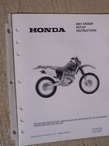 2001 Honda Motorcycle Scooter XR250R Set Up Instruction ...