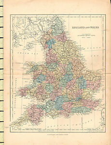 C1880 Map England Wales York Lincoln Norfolk Suffolk Sussex