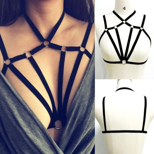 Womens Cross Harness Strappy Lace Bra Bustier Vest Crop Top Bralette Blouse S-XL