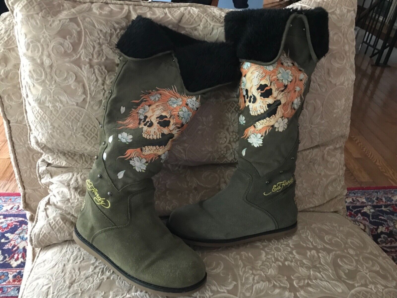 Don Ed Hardy Suede Shearling  Knee High Boots Size 10