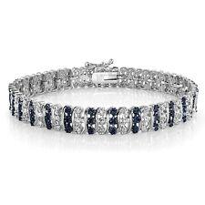 1.00ct TDW Treated Blue & White Diamond S Pattern Tennis Bracelet in Brass
