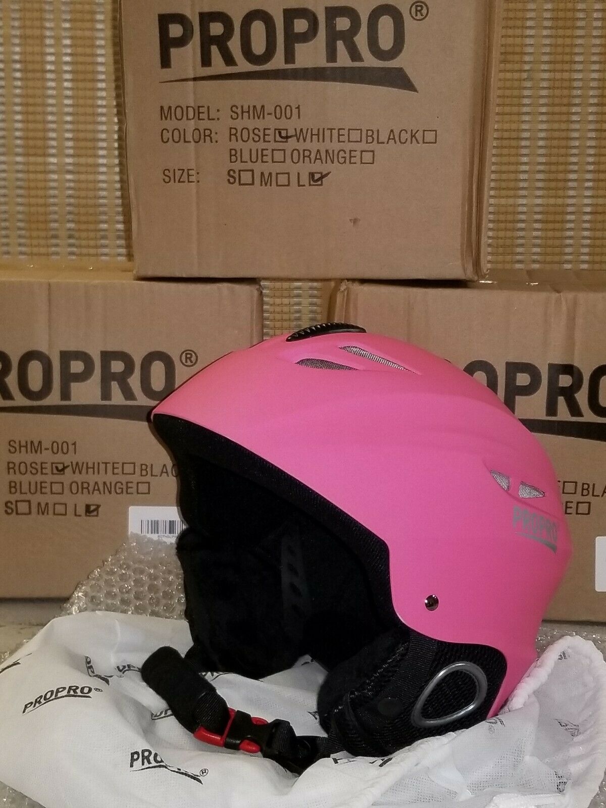 NIB Propro Pink  Ski  Snowboard Helmet Size Adult Large S board, Model SHM-001  first time reply