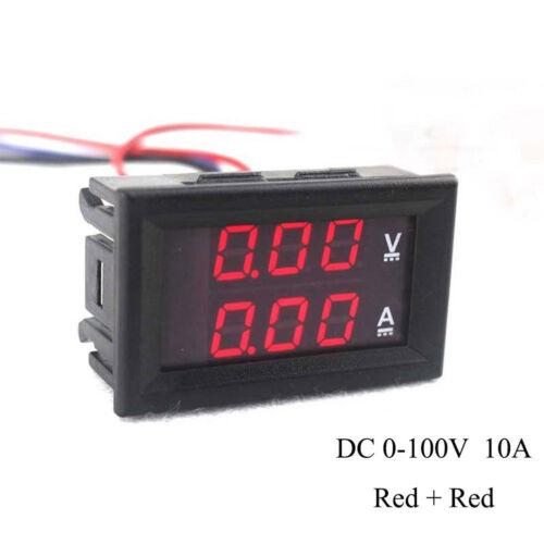 DC 0-100V 10A 3//4 Bit Voltmeter Ammeter Red Blue LED Amp Wires XE