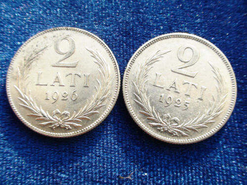 2 LATI HIGH QUALITY COIN  XF CONDITION 1925-1926 YEARS 2 PC LATVIA SILVER 2