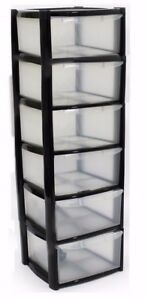 Image is loading 6-DRAWER-PLASTIC-STORAGE-TOWER-BLACK-COLOUR-STRONG-  sc 1 st  eBay & 6 DRAWER PLASTIC STORAGE TOWER - BLACK COLOUR - STRONG - HOME ...