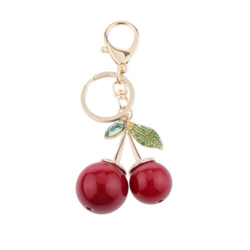 Fashion Rhinestone Crystal Red Cherry Pendant Bag Pendant Keyfobs Lady Gift