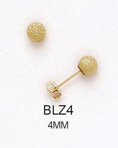 14k Solid Yellow Gold Diamond-Cut Ball Stud Push Back Earrings Multiple Sizes