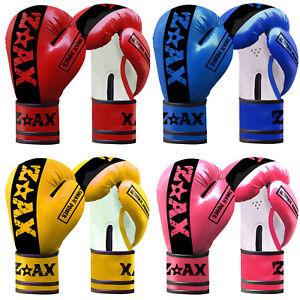 Junior-Boxing-Gloves-Sparring-Rex-Leather-Punchbag-Gloves-Children-Kids-4-6-8-OZ