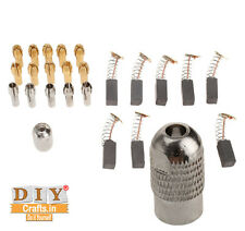 DIY Crafts®Brass Collet Drill Chucks+Silver Colet+Carbon Motor Brushe+Screw Cape