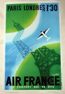 Large-Format-HiQ-Facsimile-of-1936-Air-France-Travel-Poster-Eiffel-Tower-36x23