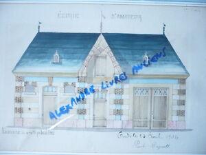 à Condition De Grand Dessin Aquarelle Architecture 1906 Ecuries De Condé Signe Et Date Rare