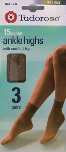 Tudorose taille unique lot de 3 paires 15 denier cheville hauts 100/% nylon