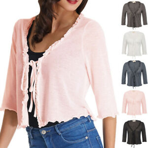 Women-039-s-3-4-Sleeve-Cardigan-Knit-Sweaters-Cropped-Open-Front-Shrug-Bolero