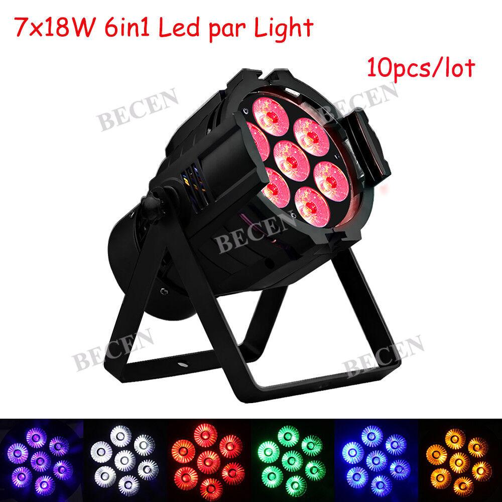 7x18W LED Par Light 7x6in1 RGBWA UV Indoor Par DJ Stage Lighting Wedding 10pcs