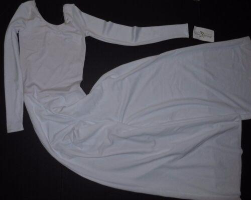 NWT White Long Sleeve Wide Leg Jumpsuit Praise Dance Liturgical Adult Szs 78888