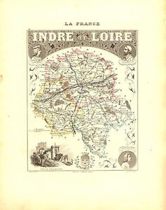 Carte du Département d'INDRE et LOIRE- vers 1880. Migeon 59zNVnn0-09114719-795085418