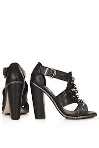 huge discount authorized site super cute Details about TOPSHOP GLISTEN STUDDED SANDALS $136 Black Leather Shoes  Block Heels 7.5 Booties