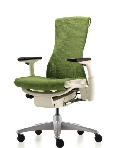 NEW Herman Miller Embody fice Desk Chair White Frame Titanium Green Rhythm