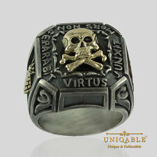 Memento Mori Silver Gold Ring SIZE 11 Skull Bones Masonic Knights Templar Biker