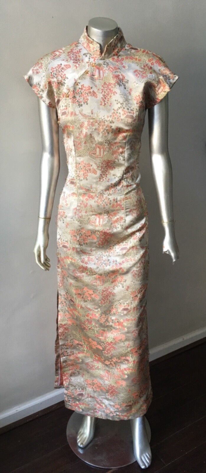 Cheongsam Oriental Wrap Vintage gold gold gold Midi Sheath Studs Leg Split Party Dress M df5823