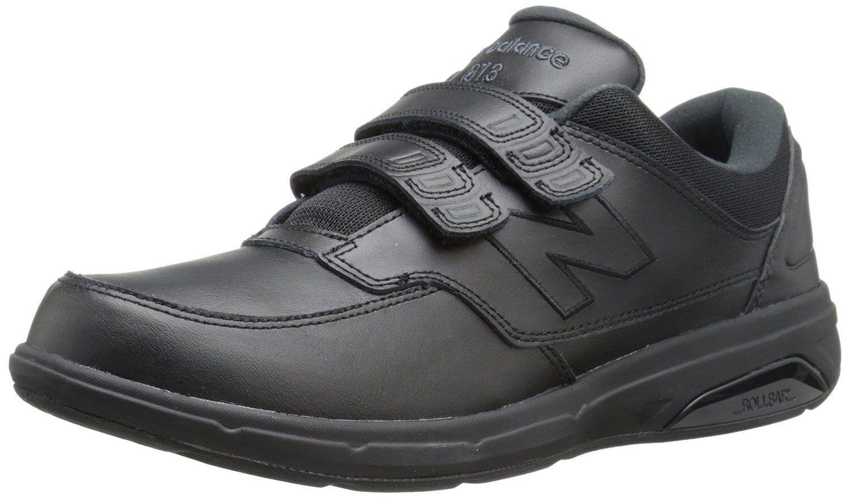 New Balance Men's MW813HBK Black Leather Hook and Loop Comfort Walking Shoe