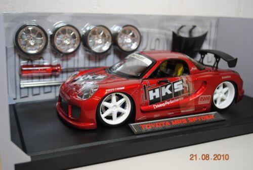 juego de ruedas 2 1:18 import Racer JadaToys toyota mr2 Spyder rojo Decals incl